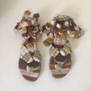 Missoni (Sz.36) Multi Ankle Wrap Sandals